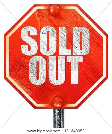 sold out, 3D rendering, a red stop sign
