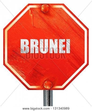 Brunei, 3D rendering, a red stop sign