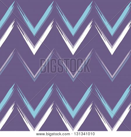 Vector chewron print violet line waves geometric symmetric horiizontal pattern, modern cover with white blue curves background. Zig zag dekor ornament