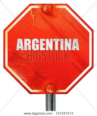 Argentina, 3D rendering, a red stop sign