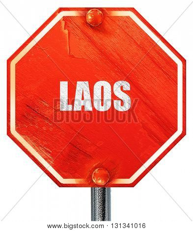 Laos, 3D rendering, a red stop sign