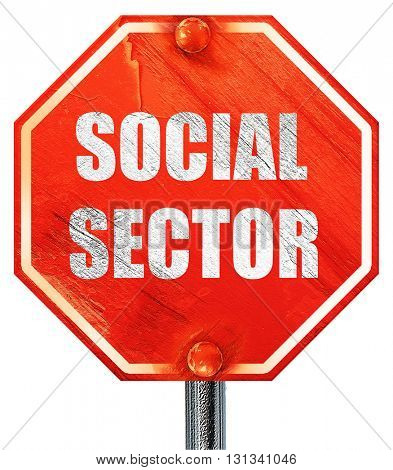 social sector, 3D rendering, a red stop sign