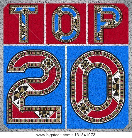 Top Twenty Ornamental Block Typography Square Label
