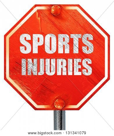 sports injuries, 3D rendering, a red stop sign