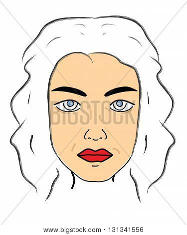 Vector closeup Decorative portrait of a woman on a white background