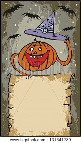 Vector Illustration of frame Halloween Pumpkin with hat
