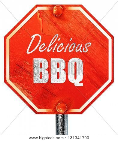 barbecue sign background, 3D rendering, a red stop sign