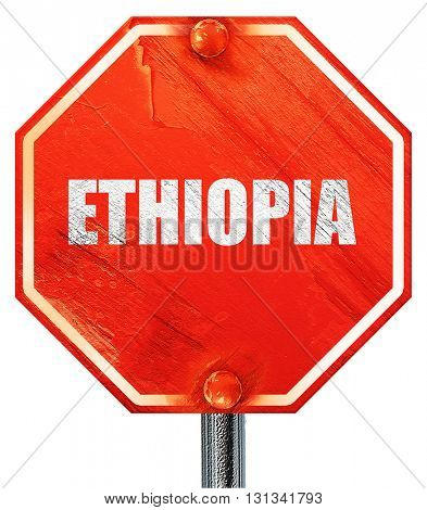 Greetings from ehtopia, 3D rendering, a red stop sign