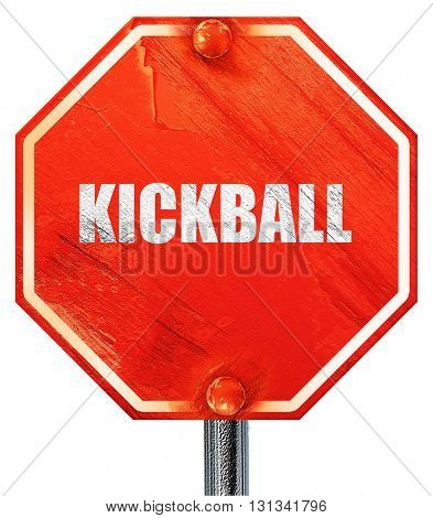 kickball sign background, 3D rendering, a red stop sign