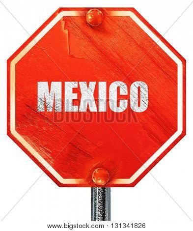 Greetings from mexico, 3D rendering, a red stop sign