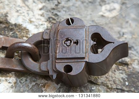 Ancient rusty lock on the medieval castle