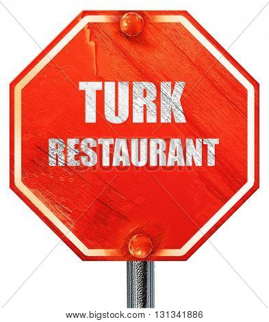 Delicious turkish cuisine, 3D rendering, a red stop sign