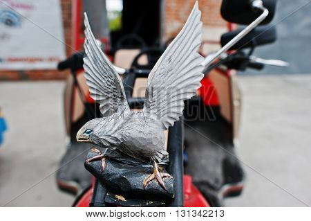Podol, Ukraine - May 19, 2016: Eagle Logo On Handmade Vintage Retro Classic Motorcycle.