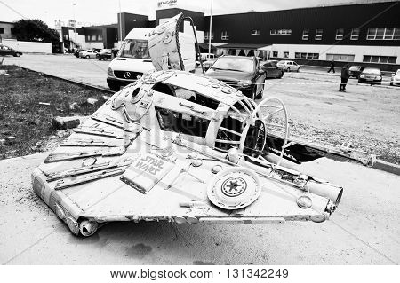 Podol, Ukraine - May 19, 2016: Handmade Space Flying Machine Star Wars. Black And White Photo