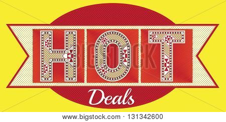 A Red HOT Deals Block Letters Typography Label