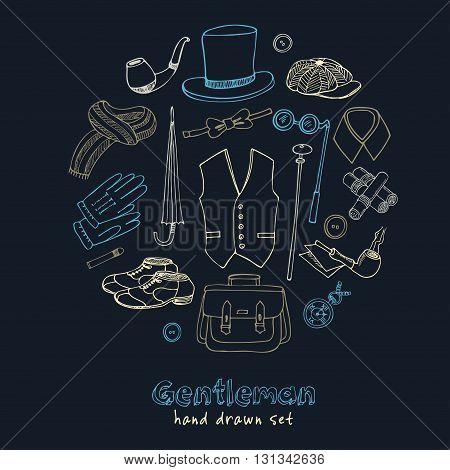 Gentleman vintage accessories doodle set. Sketches. Hand-drawing. Vector illustration of for design and packages product.