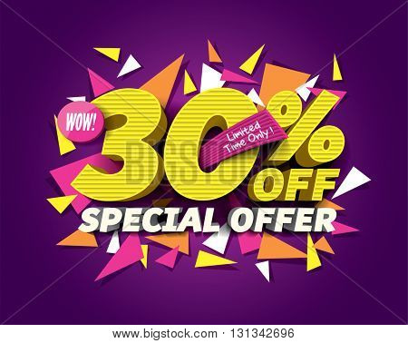 Special Offer Sale concept with abstract triangle elements. sale layout design. Vector illustration