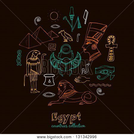 Egypt symbols set Sketches. Hand-drawing. Vector illustration of for design and packages product.