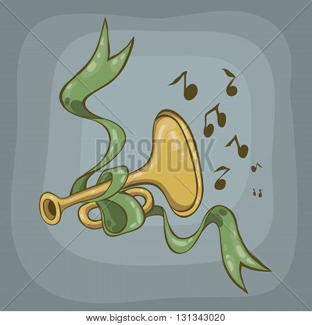 trumpet and green ribbon on a gray background