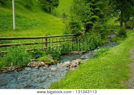 Stream in spring season. Sinevir lake. Ukraine Europe