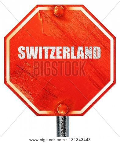 switerzland, 3D rendering, a red stop sign