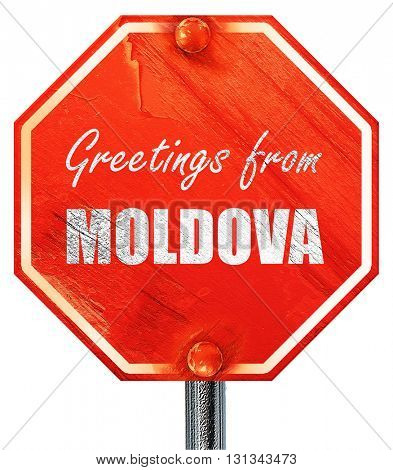 Greetings from moldova, 3D rendering, a red stop sign