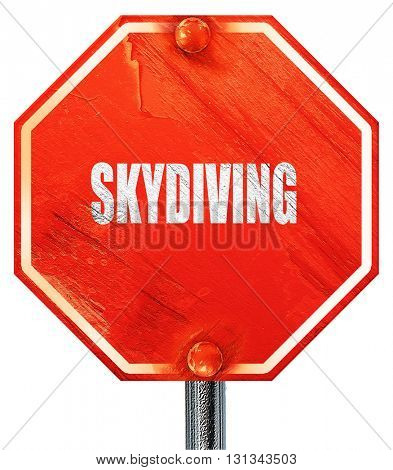 skydiving sign background, 3D rendering, a red stop sign