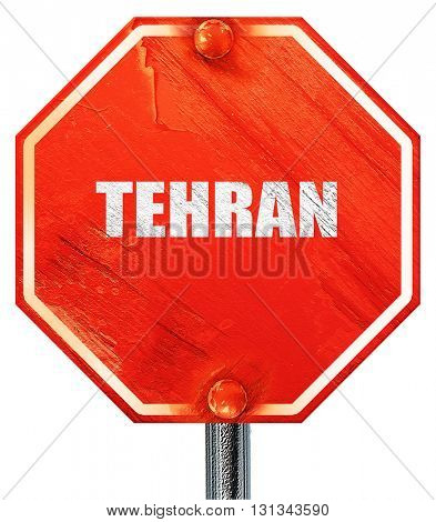 tehran, 3D rendering, a red stop sign