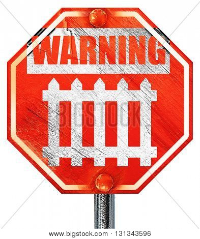 Railway warning sign, 3D rendering, a red stop sign