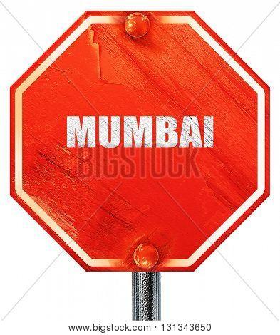 mumbai, 3D rendering, a red stop sign