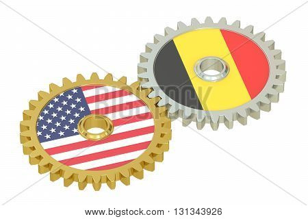Belgium and United States relations concept flags on a gears. 3D rendering isolated on white background