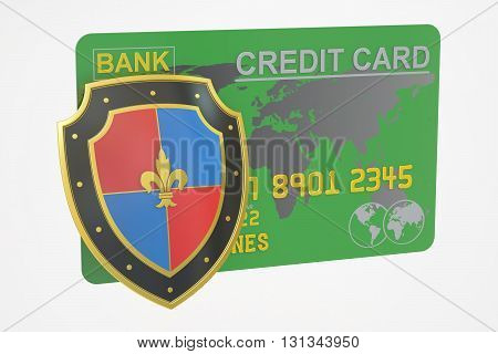 Credit card with security shield 3D rendering isolated on white background