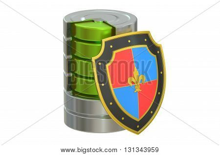 Database security concept 3D rendering isolated on white background