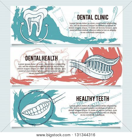 Dental banners or website header set. Tooth toothbrush toothpaste healthy tooth irrigator tooth brushes tooth paste mouth wash interspace dental floss.
