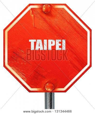 taipei, 3D rendering, a red stop sign