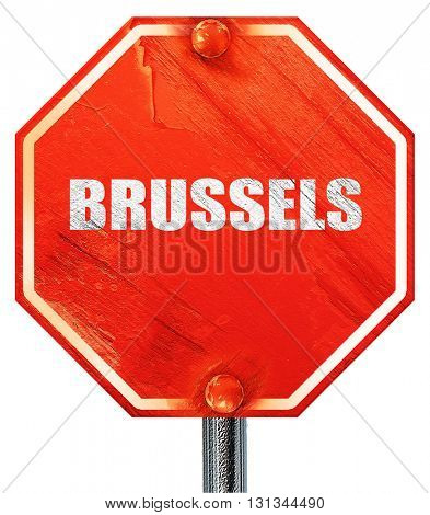 brussels, 3D rendering, a red stop sign