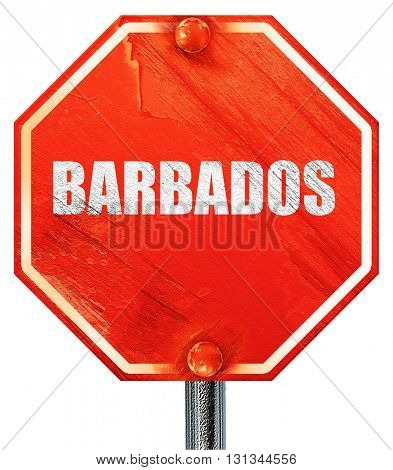 barbados, 3D rendering, a red stop sign