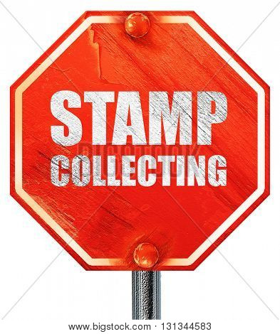 stamp collecting, 3D rendering, a red stop sign