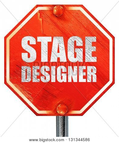 stage designer, 3D rendering, a red stop sign