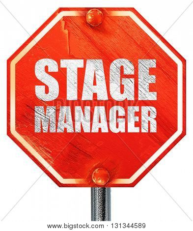 stage manager, 3D rendering, a red stop sign