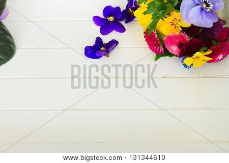Posy of violets, pansies, daisies and ranunculus on white wooden planks background with copy space