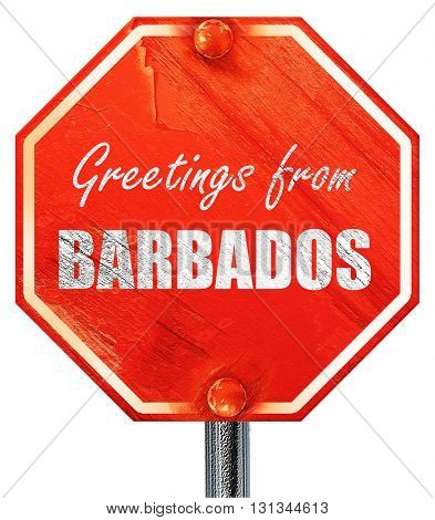 Greetings from barbados, 3D rendering, a red stop sign