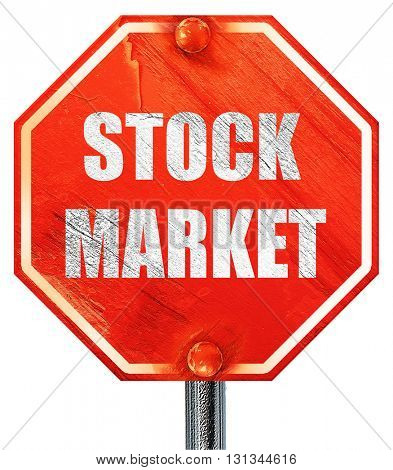 stock market, 3D rendering, a red stop sign