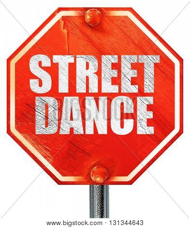 street dance, 3D rendering, a red stop sign