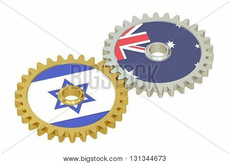 Israel and Australia flags on a gears 3D rendering isolated on white background