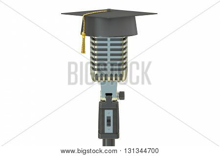 microphone with academic cap 3D rendering isolated on white background