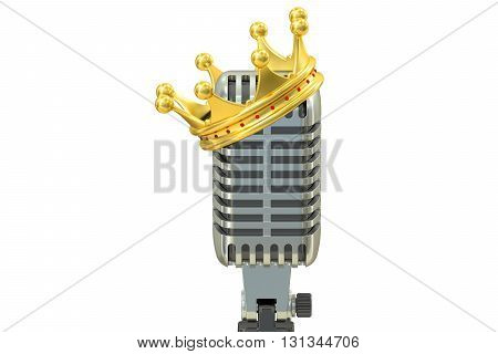 microphone with golden crown 3D rendering isolated on white background