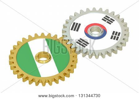 South Korea and Nigeria relations concept flags on a gears. 3D rendering isolated on white background