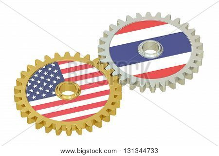 Taiwan and United States relations concept flags on a gears. 3D rendering isolated on white background
