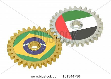 UAE and Brazil flags on a gears 3D rendering isolated on white background